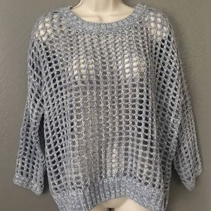 NWT She & Sky Blue Open fishnet loose Sweater OSFA